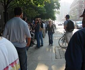 A long line awaits the world premiere of The Year of the Yao at the Toronto Film Festival on Thursday evening, 9/16/04.
